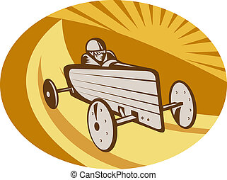Soap box derby car racing with sunburst in the background.