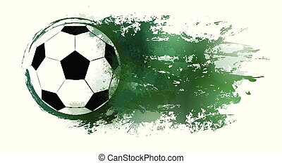 Illustration of a soccer ball with watercolor splashes and grunge scratches.