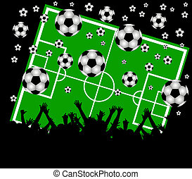 illustration of a soccer field and fans on black background