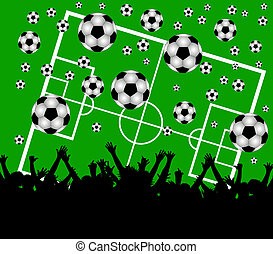 illustration of a soccer field and fans on green background