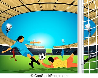 Illustration of a soccer game in an outdoor stadium. Blue team player is having a shot at the goal and goaler of red team trying to stop the kick from reaching the goal.