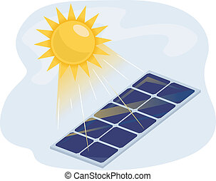 Illustration of a Solar Panel Absorbing Heat from the Sun