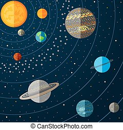 Illustration of solar system with planets. Vector illustration