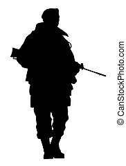soldier - illustration of a soldier silhouette over a white...