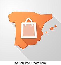 Spain map icon with a shopping bag