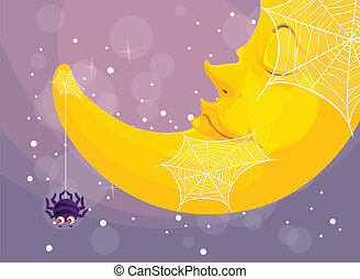 a spider and moon