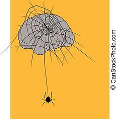 illustration of a spider web brain