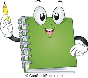Illustration of a Spiral Notebook Mascot raising up a Pencil