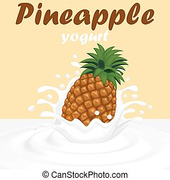 Illustration of a splash of pineapple fruit yogurt