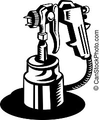 illustration of a Spray gun viewed from a high angle in black and white