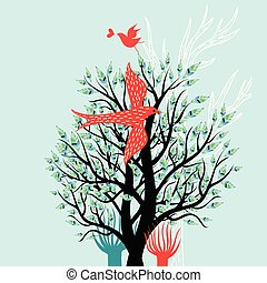 Illustration of a spring tree and enamored birds