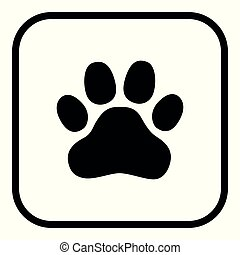 Illustration of a square application button with an animal footprint.