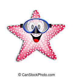 starfish with snorkel mask - illustration of a starfish with...