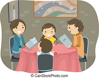 Family having a Dinner in a Restaurant - Illustration of a...