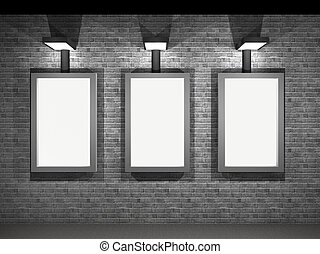 illustration of a street advertising panels at night - 3d...