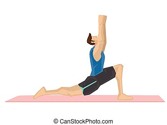 Illustration of a strong man practicing yoga with a cresent moon pose. Concept of yoga calmness, relaxation and wellness. Vector illustration.