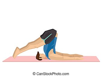 Illustration of a strong man practicing yoga with a plough ...
