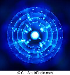 a stylized blue atom symbol