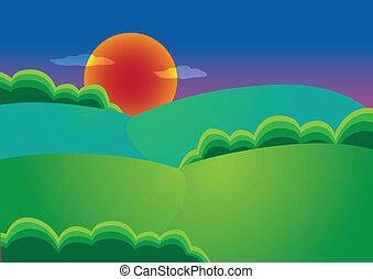 illustration of a sunset