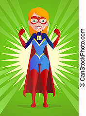 super mom - illustration of a super mom pose on spread...