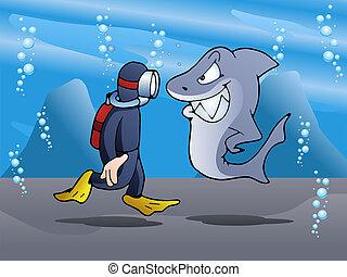 swimmer meet shark - illustration of a swimmer meet shark on...