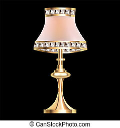 table lamp with crystal pendants - illustration of a table...