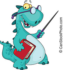 illustration of a teacher dinosaur