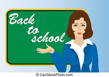 illustration of a teacher near the blackboard back to school