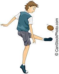 Illustration of a Teenage Boy Playing Sepak Takraw
