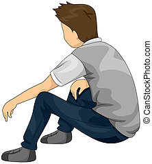 Lost in Thought - Illustration of a Teenage Boy Who Appears...
