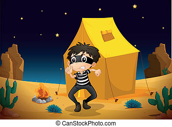 a tent house and a boy