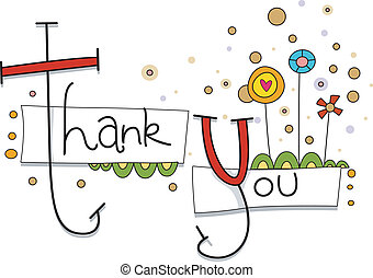 Thank You Card - Illustration of a Thank You Card with...