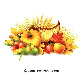 Illustration of a Thanksgiving cornucopia full of harvest fruits and vegetables. Fall greeting design. Autumn harvest celebration. Pumpkin and leaves. Vector illustration