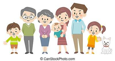 Illustration of a three-generation family