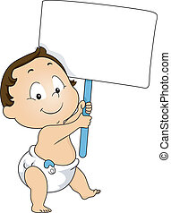 Illustration of a Toddler Boy Holding a Blank Board