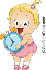 Alarm Clock - Illustration of a Toddler Carrying an Alarm...