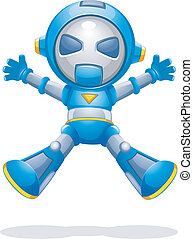 Toy Robot - Illustration of a Toy Robot Jumping with Glee
