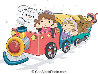 Toy Train - Illustration of a Toy Train Carrying Different...