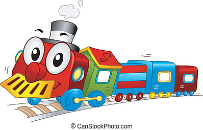 Toy Train Mascot - Illustration of a Toy Train Mascot