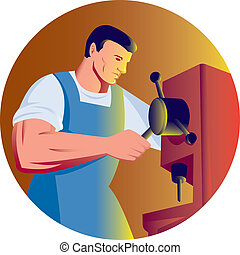 illustration of a trade factory worker working with drill press viewed from side done in retro style.