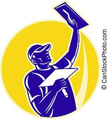 tradesman worker plasterer at work - illustration of a ...