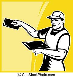 tradesman worker plasterer at work - illustration of a...