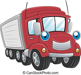 Illustration of a Trailer Truck at Work