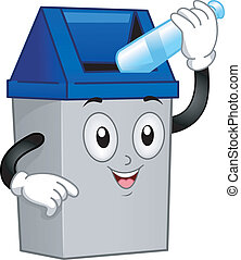 Illustration of a Trash Can Mascot Putting an Empty Bottle Inside Him