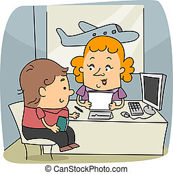 Travel Agent - Illustration of a Travel Agent at Work