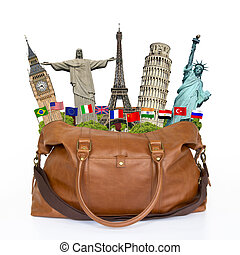 illustration of a travel bag full of famous monument -...