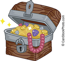Treasure Chest - Illustration of a Treasure Chest Full of...