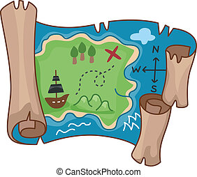 Treasure Map - Illustration of a Treasure Map