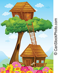 tree house - illustration of a tree house on a blue ...
