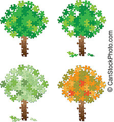 tree puzzle set - illustration of a tree puzzle set
